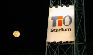 The moon rises over TIO Stadium during the AFL Round 17 match between the Melbourne Demons and Port Adelaide Power at TIO Stadium, Darwin.